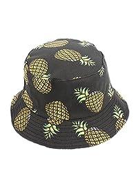 BIBITIME Unisex Fruit Print Bucket Hat Pineapple Double-Sided Wear Beach Fishing