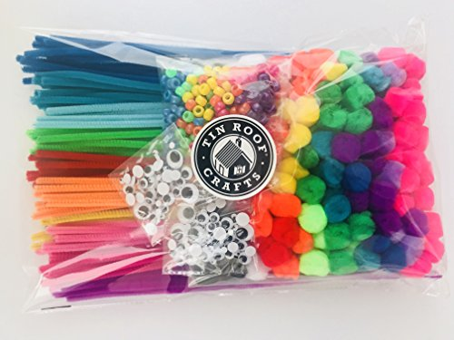 Tin Roof Crafts in Hot Kaleidoscope Colors for Crafts and DIY Hobby Supplies, Large Bargain Bag 240 Pom Poms, 140 Pipe Cleaners, 250 Pony Beads, 100 Self-sticking Googly Eyes