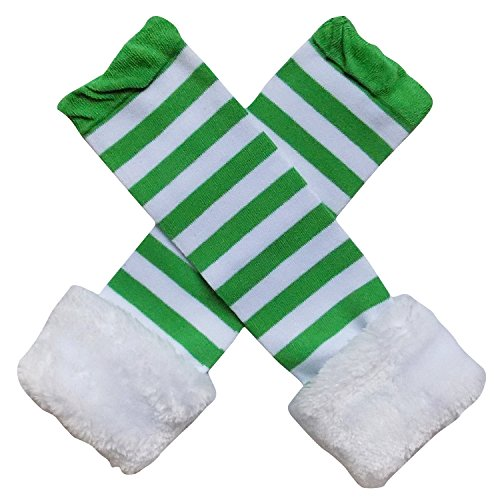 Faux Fur Christmas Holiday Winter Styles Leg Warmers or Boot Tops - One Size - Baby, Toddler, Girl (Elf Green & White (Green Elf Boots)
