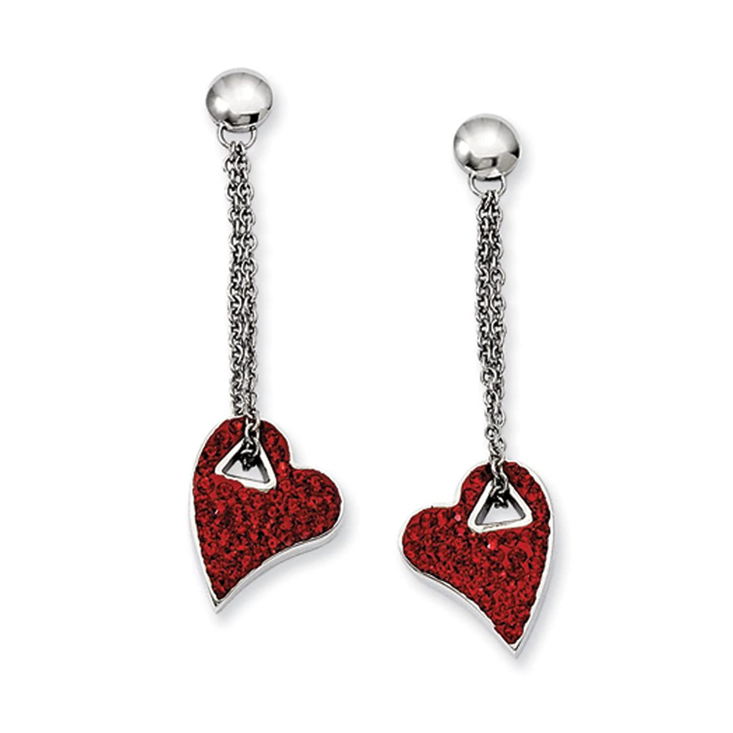 Red Crystal Heart Post Dangle Earrings in Stainless Steel