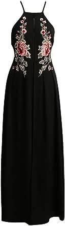 Embroidery Applique Cross Back Sleeveless Summer Beach Holiday Maxi Dress