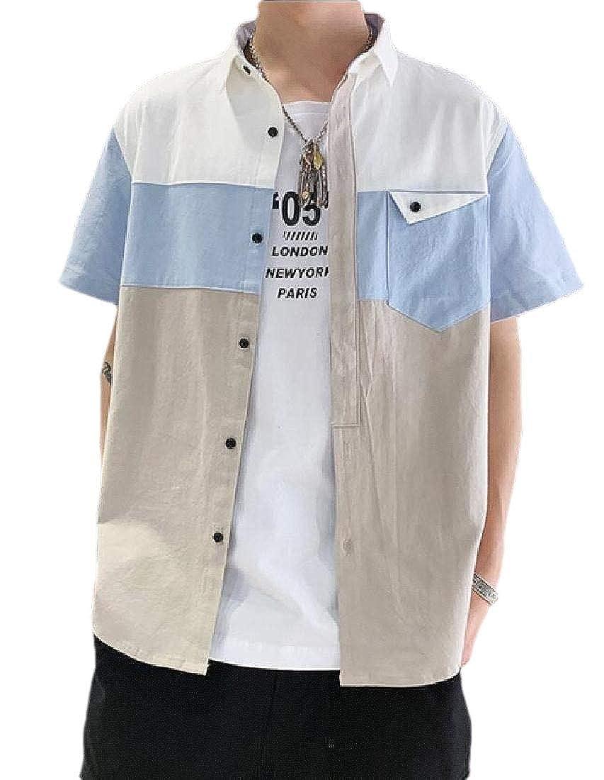 WSPLYSPJY Mens Short Sleeve Shirts Breathable Casual Work Loose Summer Tops Shirt