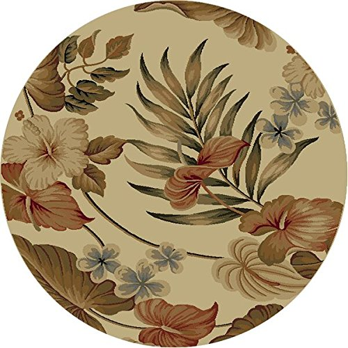 Wool Tropical Floral Area Rug - Kas Rugs KAS Oriental Rugs Lifestyles Collection Tropical Round Area Rug, 5' x 3