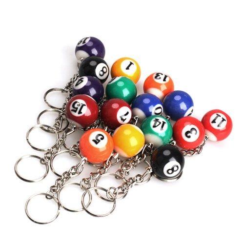 16 Pool Ball Keychains - Femitu Billiard Ball Keychain Pool Keying 25mm (Pack of 16)