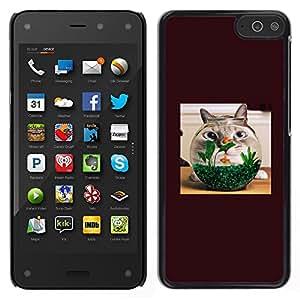 LECELL--Funda protectora / Cubierta / Piel For Amazon Fire Phone -- Gato Goldfish animal doméstico divertido animal doméstico de Brown felina --