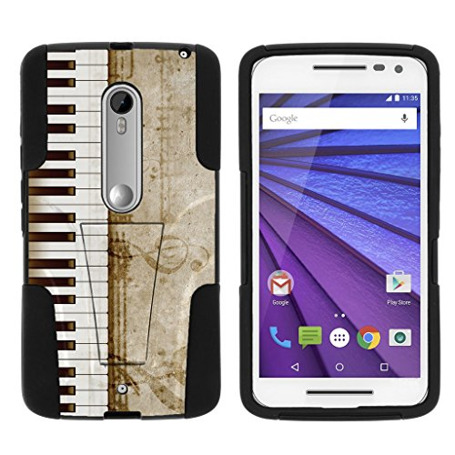 TurtleArmor | Motorola X Play Case | Motorola Droid MAXX 2 Case [Gel Max Cover] High Impact Proof Kickstand Case Silicone Hard Cover Combo Music Design Collection - Piano Keys