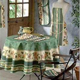 FRED OLIVIER Nappe Provençal Anti Taches 100% Polyester Tournesol Abeille Vert Couleur Vert, Format Ronde, Dimension 180