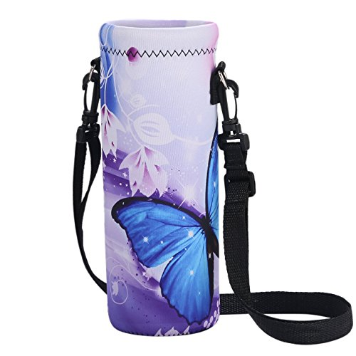 arrier,Insulated Neoprene Water bottle Holder Bag Case Pouch Cover 1000ML or 750ML,Adjustable Shoulder Strap, Great for Stainless Steel and Plastic Bottles ()