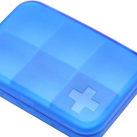 FRYH Organizador Portátil De Caja De Pastillas Estuche De Pastillas De Viaje con 6 Compartimentos para Contener Vitaminas Aceite De Pescado Suplementos Y Medicamentos,Blue: Amazon.es: Hogar