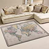 world carpet - Naanle Vintage World Map Area Rug 4'x6', Educational Polyester Area Rug Mat for Living Dining Dorm Room Bedroom Home Decorative