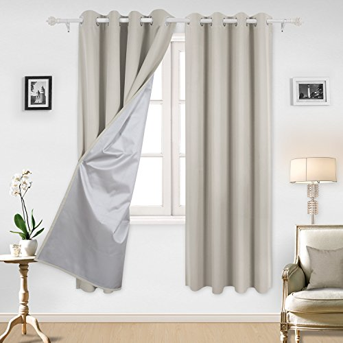 Deconovo Curtains Grommet Top Blackout Curtains Window Treatment Set with Silver Coating for Living Room 52 By 84 Inch Light Beige 1 Pair