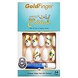 Kiss Gold Finger Limited Edition 24 False Nails GF03X White Flower Stiletto Style