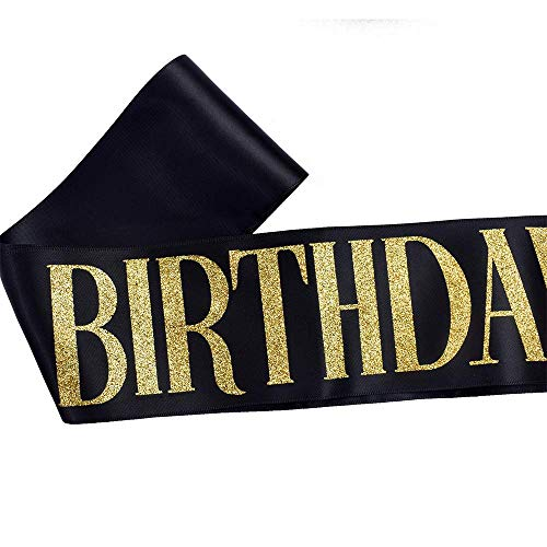 """Birthday Queen"" Sash & Rhinestone Tiara Set - Birthday Sash Birthday Gifts Birthday Party Favors (Black/Gold)"