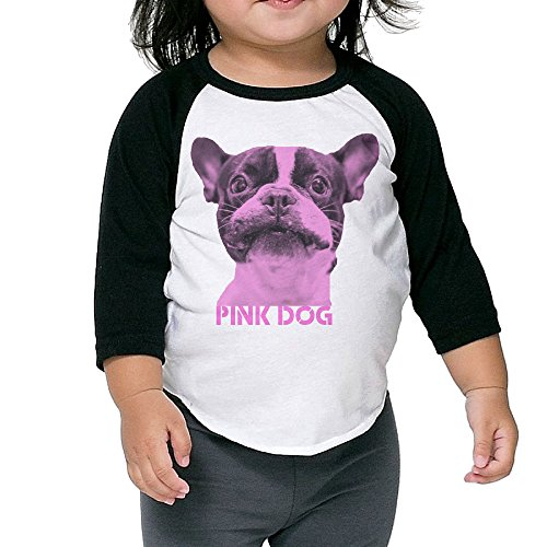 NONOS Kids Child Pink Dog 3/4 Sleeve Raglan Baseball Jersey T-Shirts