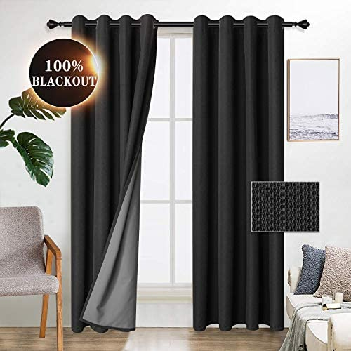 WONTEX 100 Blackout Curtains for Bedroom – Thermal Insulated Window Curtain Panels, Noise Reducing and Sun Blocking Faux Linen Grommet Curtains for Living Room, Black, 52 x 72 inch, Set of 2