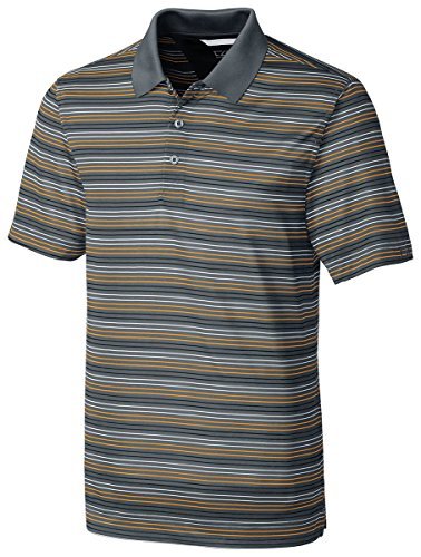 Cutter & Buck Men's Denny Striped Polo Shirt_Elemental Grey/Orange Burst_XL