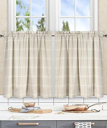 Ellis Curtain Morrison Multi Colored Plaid 100-Percent Cotton (Tailored Tier Curtains, 56×24″, Natural) For Sale
