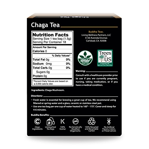 Chaga Tea - Powerful Antioxidants, Wild Harvested, Caffeine-Free - 18 Bleach-Free Te.