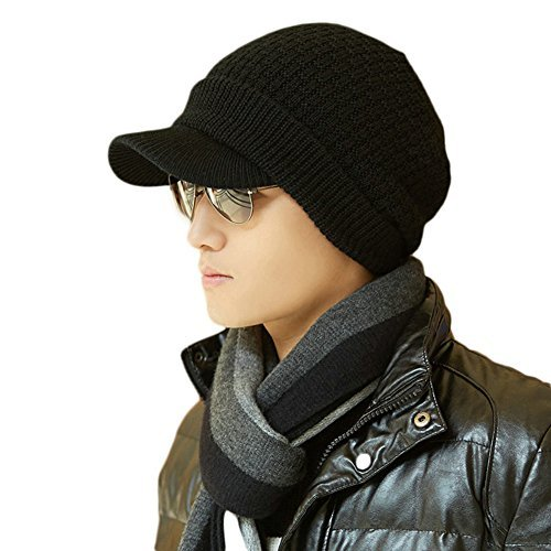 Mens Beanie Cap (SIGGI Mens Wool Knit Visor Billed Beanie Jeep Cap Winter Newsboy Hat Unisex Black XL Large)