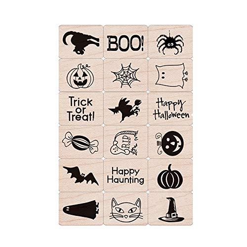 (Hero Arts Ink 'n Stamp Tub LL440 Mounted Rubber Stamps, Woodblock Stamps and Ink Pad Cube Set - Halloween)