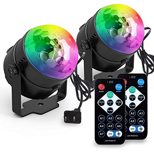 Yoozon Party Lights, [2-PACK] Sound Activated Disco Ball Party Light, 7 Lighting Color Disco Lights with Remote Control for Bar Club Party DJ Karaoke Wedding Show and Outdoor(3W) (Black) by yoozon
