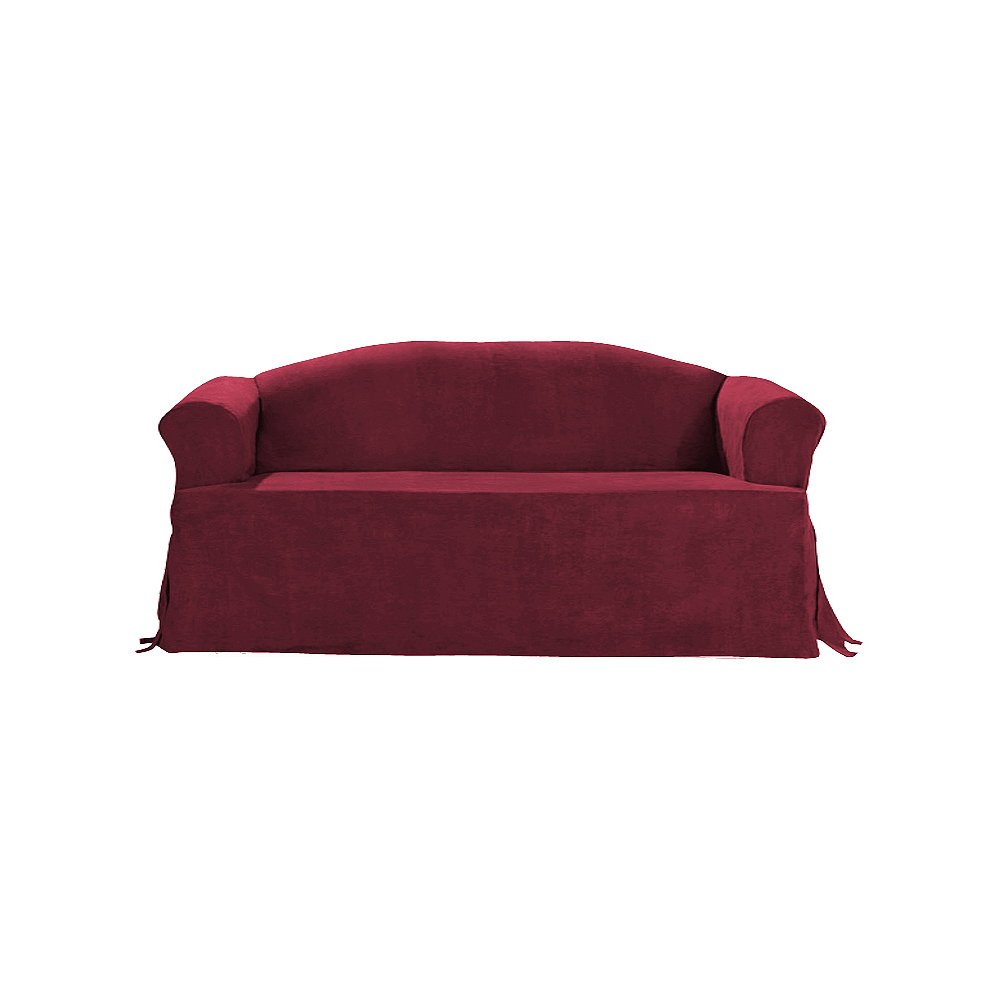 Sure Fit Soft Suede T-Cushion - Sofa Slipcover - Burgundy (SF34669) Surefit Inc.