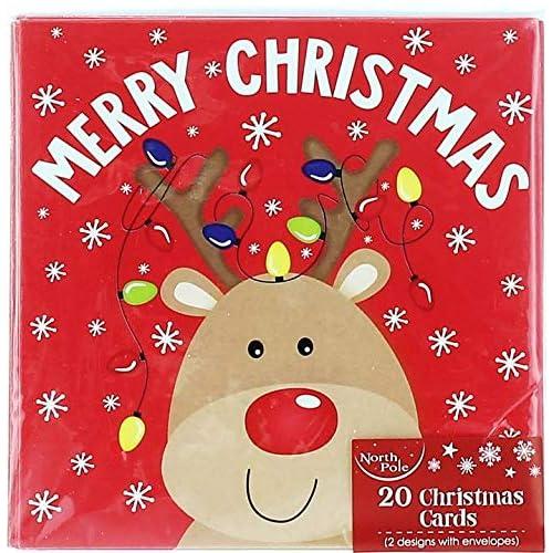 pack of 20 mini square christmas cards cute santa snowman rudolph lights