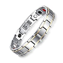 Bracelet for Men Magnetic Therapy Bracelet Pain Relief for Arthritis Link Remove Tool Adjustable 8.5 inch Silver Gold