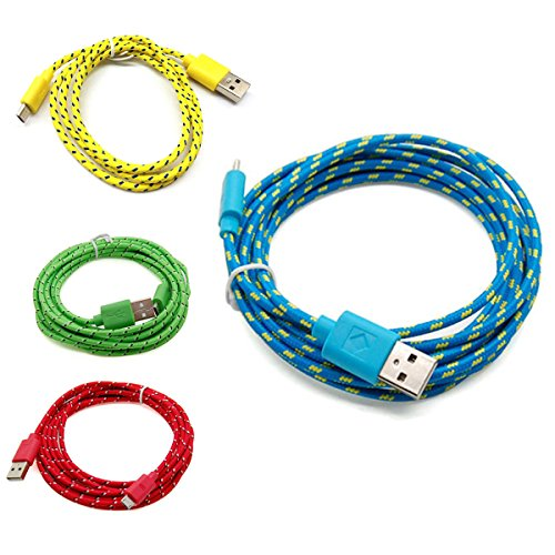 casecover universal micro usb 3m 10ft colorful fabric braided data cable micro usb data sync. Black Bedroom Furniture Sets. Home Design Ideas