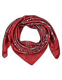 "corciova 35"" Women's Polyester Silk Feeling Square Hair Scarf Headscarf Fire Engine Red Tree Pattern"