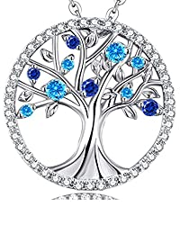 """Valentines Day Gift for Her """"Tree Of Life"""" March Birthstone Aquamarine Necklace Jewelry Sterling Silver"""