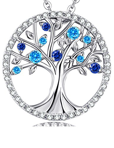 December Birthstone Blue Topaz and Sapphrie The Tree of Life Necklace Christmas Birthday Gift Fine Jewelry for Women Anniversary Gift for Her Falimy Sterling Silver 18