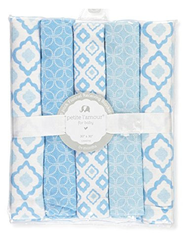 Petite L'amour 5-Pack Flannel Receiving Blankets - blue, one ()