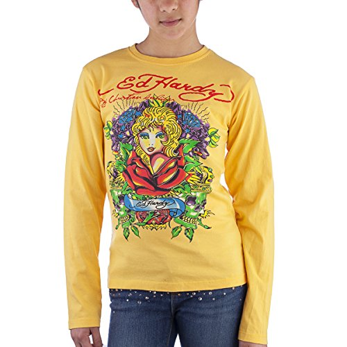 Ed Hardy Kids Girls Long Sleeve Flower Diamond T-Shirt - Yellow - X-Large