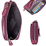 PABOJOE Wallets for Women Soft Leather Zipper Small Hand Purse Minimalist Wristlet Handbags (Purple)