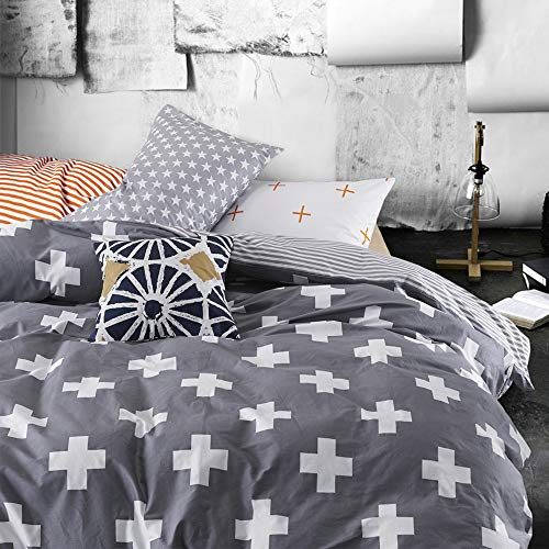 VM VOUGEMARKET 3 Pieces Duvet Cover Sets Queen Gray, White Cross Duvet Cover with 2 Pillow Shams,100% Cotton Reversible Striped Bedding Set (Queen, Style 3) (Color Sheets With What White Comforter)