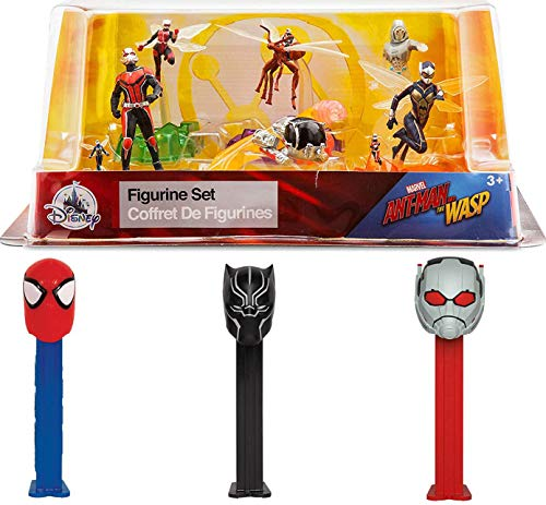 Heads & Figures Super Fun Marvel Ant-Man & Wasp 6 Figure Hero Collection Playset Quantum Pod Team + Black Panther / Spider-Man Dispensers Pez Action Pack -