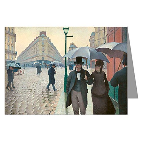 Twelve Note Card Set of Gustave Caillebotte 1877 impressionistic painting Titled Rue de Paris, Wet Weather