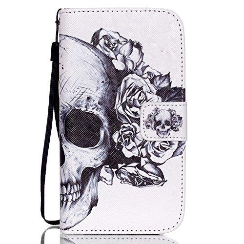 S3 Case,Galaxy S3 Case,GOODTONY [Wallet Function] Magnetic Snap skin case Premium PU Leather Folio Wallet Flip Hand Strap Case Cover for Samsung Galaxy S3 III i9300 (Skull Flowers)