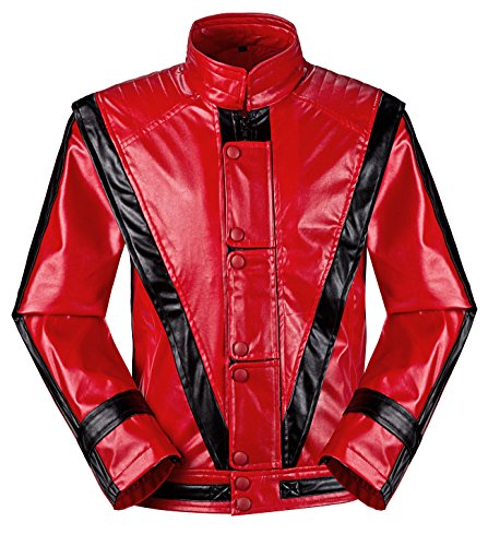 [Michael Jackson MJ Costume Thriller Red Jacket +Glove (kids(145-155cm))] (Mj Thriller Halloween Costume)