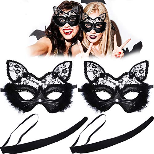 Homemade Kitty Cat Costumes Kids - 4 Pieces Cat Lace Eye Mask