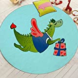 Cartoon Lovely Dinosaur Printed Round Area Rugs Coral Velvet Modern Carpet Anti-Skid Decorative Mats for Home