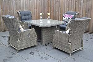 Muebles de Jardín para Dich Valencia ajustable Lounge Kobo Grey con 4sillones y comedor