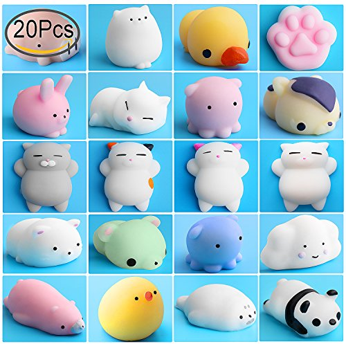 Mini Squishies Kawaii, Outee 20 Pcs Animal Squishies Mochi Squeeze Toys Soft Squishy Release Stress Animal Toys Mini Seal Octopus Rabbit Chick Cat Pig Tiger Fox Panda Cloud Squishies, Random Color