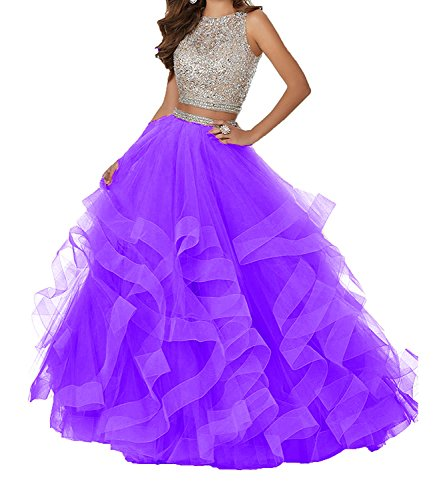 Zafee-Freely Luxury Two Piece Beaded Asymmetric Tulle Long Cocktail Prom Ball Gown Women's Dresses Purple US10
