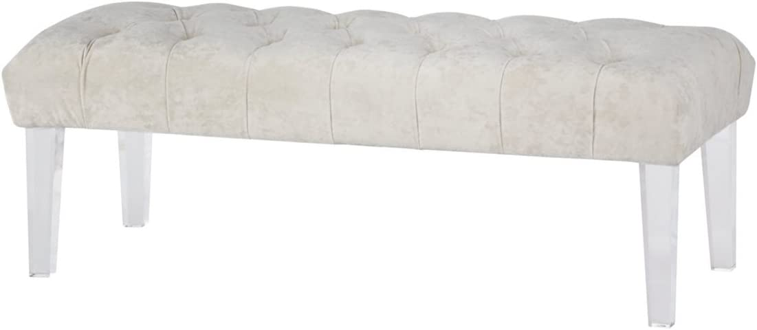 Ashley Furniture Signature Design – Brooklee Accent Bench – Contemporary – Ivory Tufted Velvet Seat – Clear Acrylic Legs