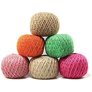 Digiroot Natural Jute Twine Perfect for Gift Packaging, Gardening Applications, Arts and Crafts Project and Home Decorations - Pack of 6 , 328ft/roll (Beige,Hot Pink,Light Pink,Green,Orange,Brown)