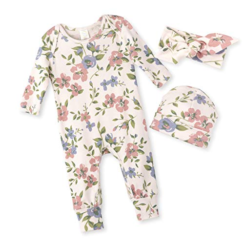 (Tesa Babe Spring Floral Romper & Headband + Hat Set for Newborns, Baby Girls & Toddlers, Multi (Quaint Flowers, 0-3)