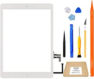 JPUNG for iPad Air 1st Generation Screen Replacement Touchscreen Digitizer,Only for A1474 A1475 A1476 Air 1st gen, with Home Button, Full Repair Kit