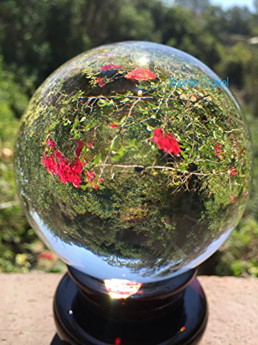 SunRise Meditation Clear Crystal Ball Sphere 2 Free Display Stands, Wooden Stands and Crystal Stand Crystal 110mm 4.2 in.